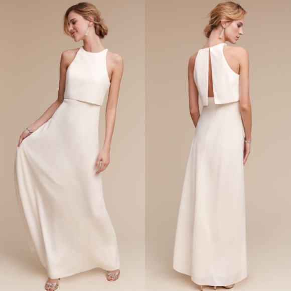 37a43e14b05 Jill Stuart Dresses   Skirts - Jill Stuart BHLDN Iva Crepe Maxi Gown Ivory